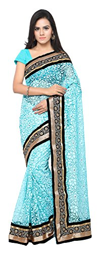 Aruna Sarees Women's Brasso Saree with Blouse Piece (Turquoise)