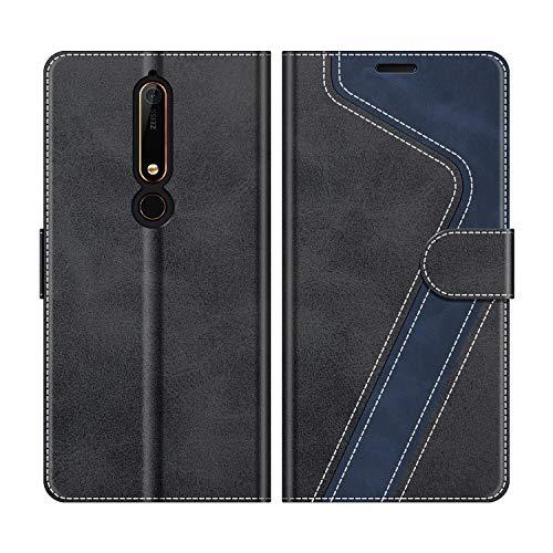 MOBESV Nokia 6.1 Hülle Leder, Nokia 6.1 Tasche Lederhülle Wallet Case Ledertasche Handyhülle Schutzhülle für Nokia 6.1 Version 2018, Modisch Schwarz