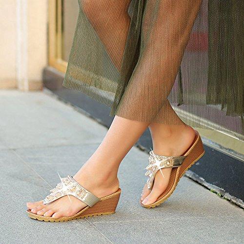 Sandales compensés avec strass Femme pour voyage plage Argent