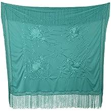 La Señorita Mantones bordados Flamenco Manton de Manila azul verde con  flores Cuadrado 89b275101ba