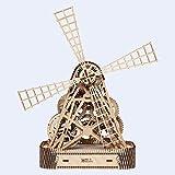 Wooden City Windmill 3D-Holzfunktionsbausätze, Holz, Natur, 35,5 x 25 x 37,3 cm