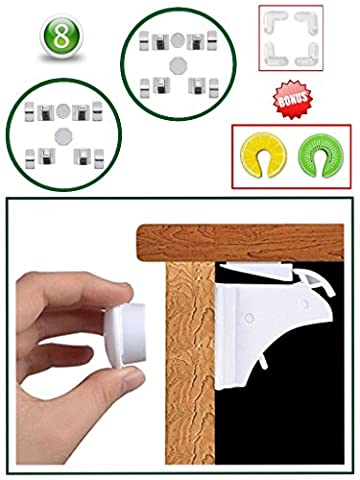 Magnetic Baby Safety Cupboard Locks & Bonus Babyproof Kit (8+2 keys)| Child, Infant, Baby Home Safety | Invisible Cupboard Support | Bonus Corner Protectors & Door Finger Safes. (20-Piece Set)