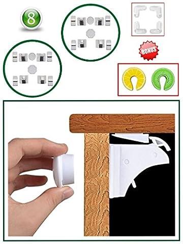 Magnetic Baby Safety Cupboard Locks & Bonus Babyproof Kit (8+2 keys)| Child, Infant, Baby Home Safety | Invisible Cupboard Support | Bonus Corner Protectors & Door Finger Safes. (20-Piece