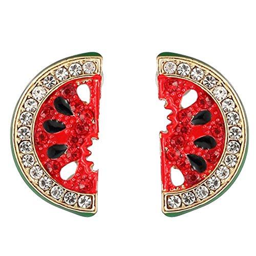 Fengteng Kristallart Elegant Damen Melone Ohrstecker Miniblings Stecker Ohrringe Melonen Aushöhlen Wassermelone Ohrschmuck mit Strass Obst Frucht Geschenk (Ohrstecker)