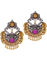 Jaipur Mart Rajasthani Traditional Two Tone Oxidised Silver & Gold Plated Red Stone Studded Vintage Dangler Earrings...