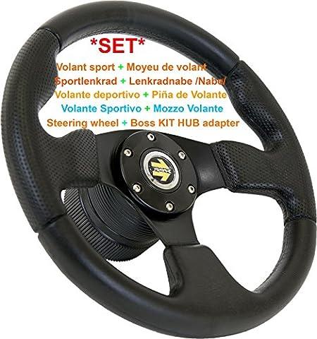 BMW E36 Sport Volant & Adaptateur de Moyeu [Certifié TÜV]   Sport Volant Ø 330 mm (33 cm), Zone de Préhension Spécial Noir Haute Qualité Produire pour BMW E36 3TH