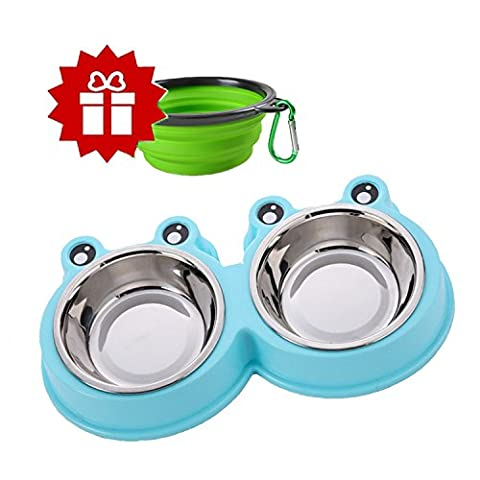 Pet Dog Cat Bowl Dual Port Stainless Steel Removable Bowl with No Spill and Non-Skid Plastic Mat Automatic Water Dispenser Feeder Utensils Bowl Drinking Fountain Food Dish Dishwasher Safe (cat bowl -