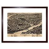 MAP SHERBROOKE 1881 VINTAGE FRAMED ART PRINT POSTER F12X10092