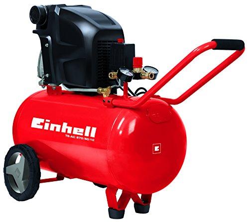 Einhell Kompressor TE-AC 270/50/10 (1,8 kW, 50 L, Ansaugleistung 270 l / min, 10 bar, ölgeschmiert, große Räder und Haltebügel)