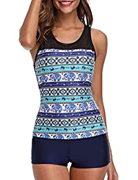 9cb3d22b99e31 Tempt Me Women Two Piece Vintage Tankini Sets Padded Tribal Printed  Swimming Costume