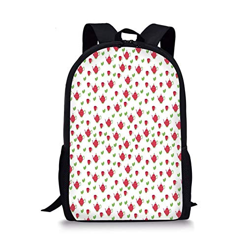 School Bags Tea Party,Teapots with Polka Dots and Leaves Tea Time Image Beverage British Design Decorative,Dark Coral Green for Boys&Girls Mens Sport Daypack -