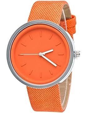 Ularma Damen Candy Farben Rund Quarz Uhr PU Denim Armbanduhr (Orange)