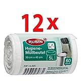 Rubin Hygiene-Müllbeutel 5 Liter 60 Stück, 12er Pack(12x60 Stk)