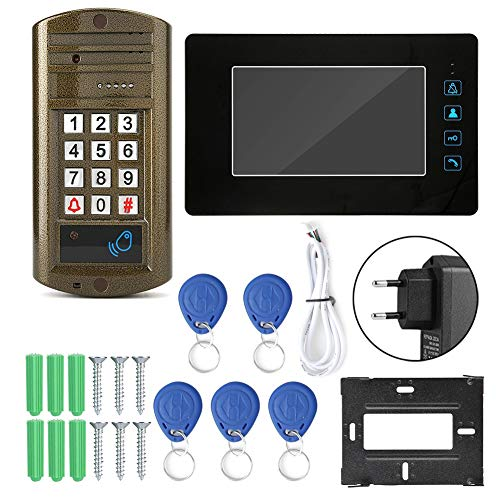 Video-Türklingel 7-Zoll-Indoor-Intercom-Funktion Wired Doorbell Kit mit elektrischer Sperre Passwort-Karte Video Intercom Türklingel(EU) Sperre Video