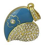 Diamant-Kristall-Kettenanhänger in Herzform, mit integriertem 16-GB-Hochgeschwindigkeits-USB-2.0-Memorystick, Geschenk für Mädchen Blau
