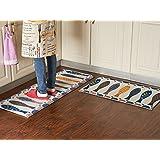 MeMoreCool–Juego de mesita de noche/cocina/baño alfombra lavable suave Doormats para entrada forma rectángulo absorbente antideslizante alfombra alfombra de bienvenida interior, tela, Color 1, 3 piezas