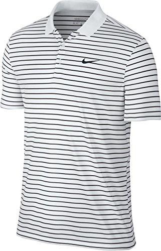 Nike Victory Herren-Poloshirt, Mini-Streifen, Brustlogo, mehrfarbig (White), M
