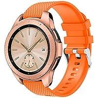 """samLIKE Pulsera de Silicona para Samsung Galaxy Watch 42mm–Ajustable Brazalete Deportivo Transpirable Rayas Diseño Pulsera de Repuesto para Hombre y Mujer, 5.1""""DE 7.9, 7Colores, Color �� Orange"""