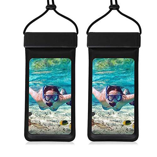 Hotsilai [IPX8 Bolsa Impermeable para teléfono móvil de 7 Pulgadas para Todos los iPhone, Huawei, Samsung Galaxy, Xiaomi .Negro (Negro*2)