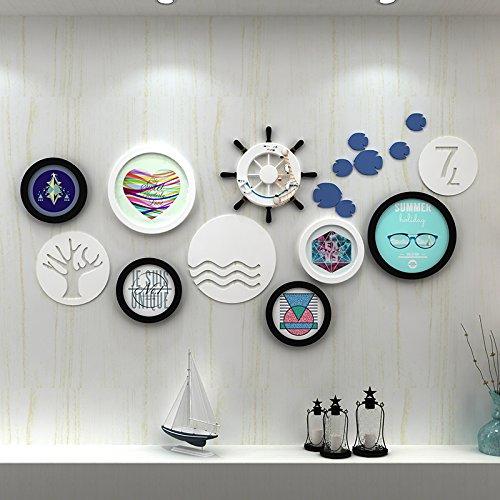 Preisvergleich Produktbild hjky Bilderrahmen Wall Set Fotorahmen Bilderrahmen Wand Wohnzimmer Wand Moderne minimalistische Wand Foto Rahmen Große kreative Kombination von Foto 1648 schwarz / weiß