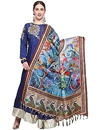 Mrinalika Fashion Cotton Silk Digital Print Dupatta (Dupattas For Womens _Salwar Suit Dgdpt23_Blue_Free Size)