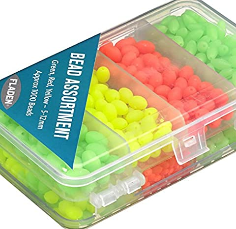 FLADEN (1000 piece) Green, Red & Yellow 5mm to 12mm Assorted Soft Beads in a Handy 2 Sided Tackle Box Set - Great for Marine Rig Making [15-3651] by FLADEN
