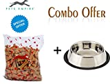 #9: Pets Empire Combo OfferAnti Skid Steel Dog Bowl (Large) + O'Dog Multigrain Real Chicken Dog Treat Biscuits ( 500 Gms ) Poly Pack
