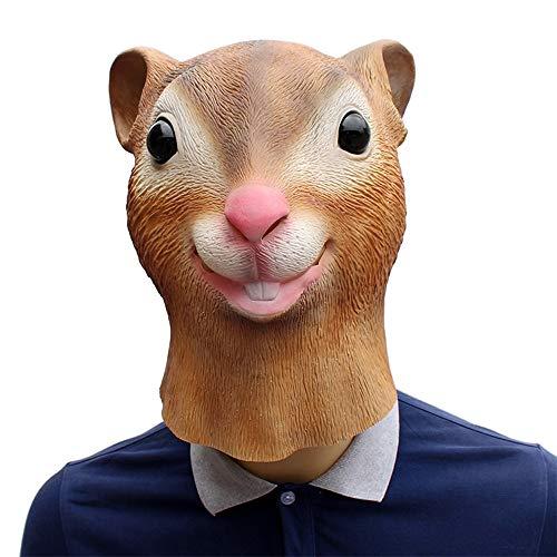 XIAOMAN Eichhörnchen Kopf Maske Realistische Latex Gesichtsmaske Halloween Cosplay Kostüm Weihnachtsfeier Rolle Spielen Spielzeug ( Color : Brown , Size : One Size )