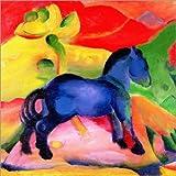 Poster 30 x 30 cm: Das Kleine Blaue Pferd von Franz Marc - Hochwertiger Kunstdruck, Kunstposter