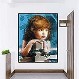 GUUTOP Immagine di opere d'Arte da Parete di Digital Suite Giardino Fai-da-Te Carino Piccolo Disegno di Vernice Digitale Stile Moderno Tela Pittura Olio Regalo-No Frame