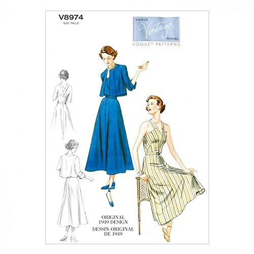 Vogue Damen Schnittmuster 8974Vintage Stil Jacke, Kleid und Gürtel Vintage Vogue