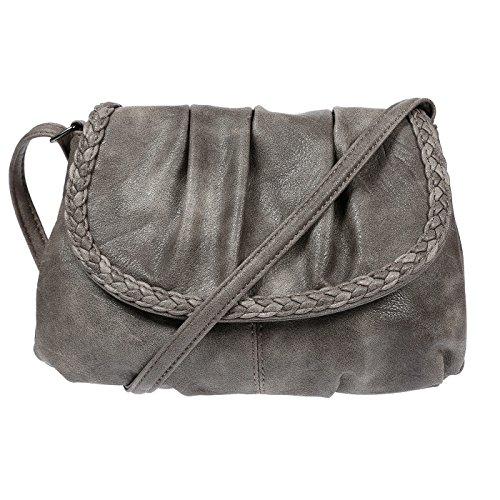 Bag Street kleine Damen Umhängetasche Schultertasche Tasche Leder Optik Party Taupe Grau