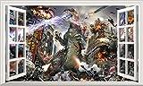 Chicbanners Godzilla 3D V003Selbstklebend Magic Wandtattoo Fenster Poster Wall Art Größe 1000mm Breit x 600mm Tief (groß)