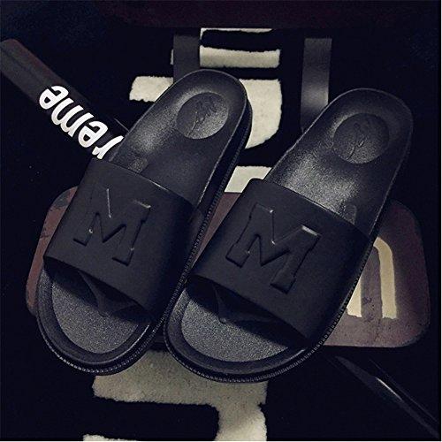 Polliwoo Herren Damen Pantoffeln EVA sohle Unisex-Erwachsene Hausschuhe Sandalen Schwarz