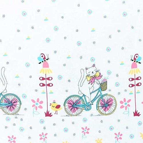 Jersey Stoff Katze auf Fahrrad Bordüre weiß bunt