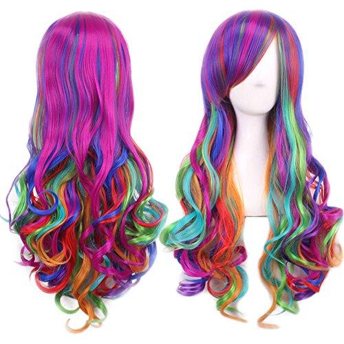 Ateid- parrucca multicolore lungo ricci wave, cosplay halloween, per donna