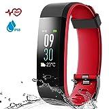 Danloryu Fitness Armband Wasserdicht IP68 Fitness Tracker mit Pulsmesser Farbbildschirm Aktivitätstracker Schrittzaehler Uhr Smart Armbanduhr Fitness Uhr für Damen Herren (Rot)