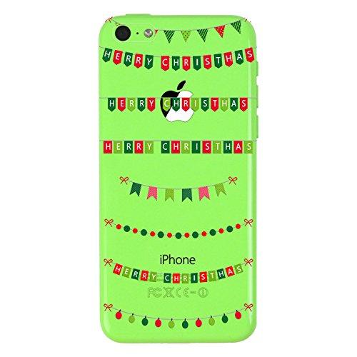 Yokata 3x Cover per iPhone 5C Custodia Silicone Trasparenti Cristallo Crystal Clear Natale Regalo Christmas Gift Disegni Case Originale Fantasia Divertenti Caso TPU Morbido Ultra Slim Protettiva Shell Bambini bandierina cervi