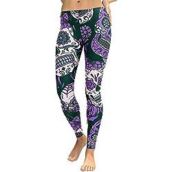 Cebbay Pantalones Yoga Mujeres Leggins de Fitness para Mujer Liquidación Pantalones Chandal Deportivos con Estampado de Esqueleto Calaveras Mallas Ropa Running (PúRpura, Large)