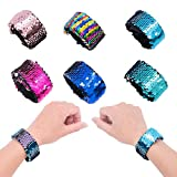 Yansion 6-Pack Meerjungfrau Pailletten Slap Armbänder, 2 Farben Reversible Pailletten Armband Party Favors Supplies für Mädchen Frauen
