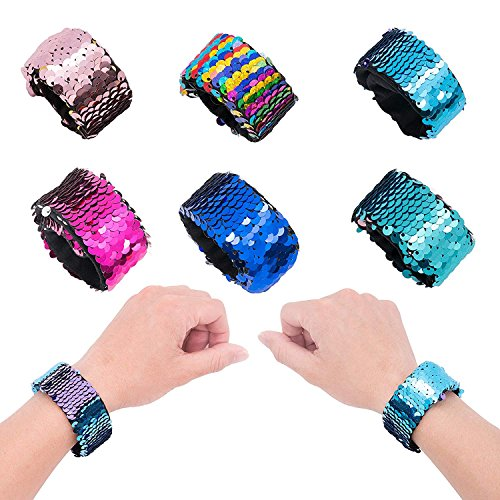 Yansion 6-Pack Meerjungfrau Pailletten Slap Armbänder, 2 Farben Reversible Pailletten Armband Party Favors Supplies für Mädchen Frauen