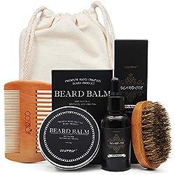 Cosmetf Baño de la barba Crema de bigote Set de aceite de barba Acondicionador Bálsamo de la barba Húmedo hidratante sano Cepillo de cera peine
