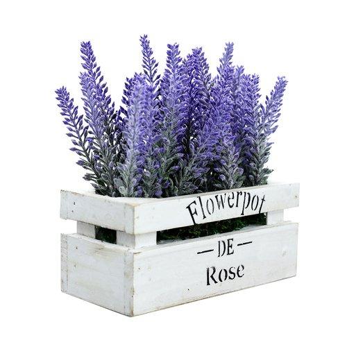 Lavendel in der Holzbox, Kunstpflanze, Lavendelpflanze
