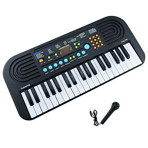 Shayson Kinder Klavier 37 Key ungiftig Umweltschutz Multi-Funktions-elektronische Tastatur Klavier spielen Klavier Orgel mit Mikrofon Pädagogisches Spielzeug für Kleinkinder Kinder Kinder (schwarz) (Schüler 4 4 Violine)