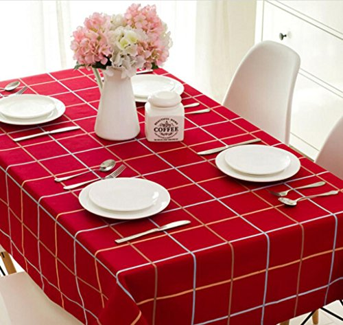 nappe de table Style européen style imperméable à l'eau nappe rouge carré damier table restaurant occidental rectangulaire table de fête tissu petit café table nappe de café 145 * 240cm Tapis de table