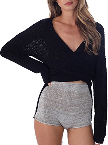 les femmes simplee vêtements nouez pull col v. tricot pull en culture Noir