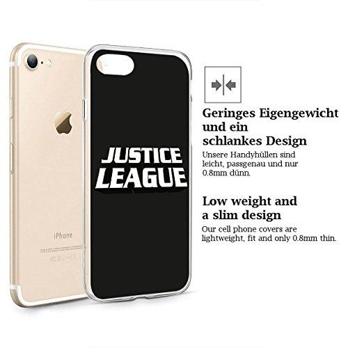 finoo | iPhone 8 Weiche flexible Silikon-Handy-Hülle | Transparente TPU Cover Schale mit Motiv | Tasche Case Etui mit Ultra Slim Rundum-schutz |Flash logo Justice league logo black