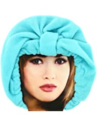 -Charlotte de Bain Luxe en tissu absorbant Bonnet Microfibre Bleu