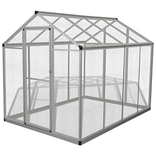 mewmewcat Pajarera Grande para Exterior Estructura de Aluminio Gris 178x242x192 cm