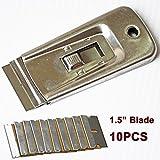 Ehdis® Window Film strumento di acciaio retrattile lametta raschietto con 10 lame per la rimozione, vernice, decalcomanie, adesivi e Altro